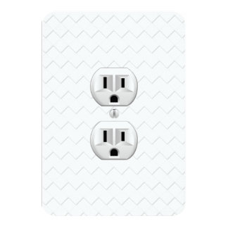 """Electrical Plug Wall Outlet Fun Customize This 3.5"""" X 5"""" Invitation Card"""