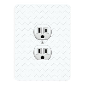 """Electrical Plug Wall Outlet Fun Customize This 5.5"""" X 7.5"""" Invitation Card"""