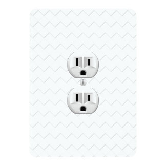 """Electrical Plug Wall Outlet Fun Customize This 4.5"""" X 6.25"""" Invitation Card"""