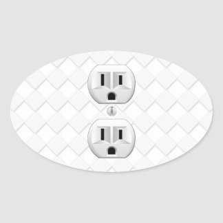 Electrical Plug Wall Outlet Fun Customize This Oval Sticker