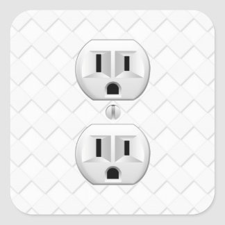 Electrical Plug Wall Outlet Fun Customize This Square Sticker