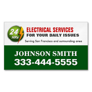 Electrical Power Service Electrician Fridge Magnet Magnetic Business Cards (Pack Of 25)