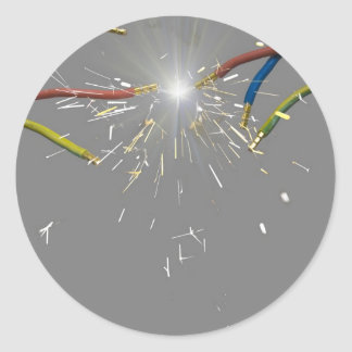 electrical spark classic round sticker