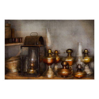 Electrician - A collection of oil lanterns Posters