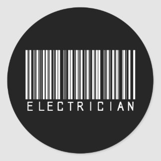 Electrician Bar Code Classic Round Sticker