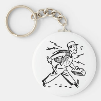 Electrician Basic Round Button Keychain