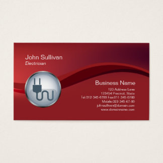 Electrician Business Card Electric Plug Icon