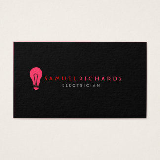 Electrician Business Card Simple Bulb Silhouette