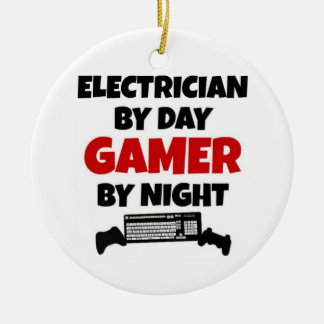 Electrician by Day Gamer by Night Double-Sided Ceramic Round Christmas Ornament