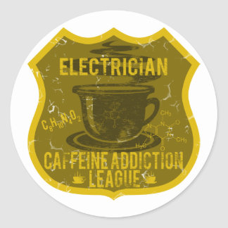 Electrician Caffeine Addiction League Classic Round Sticker