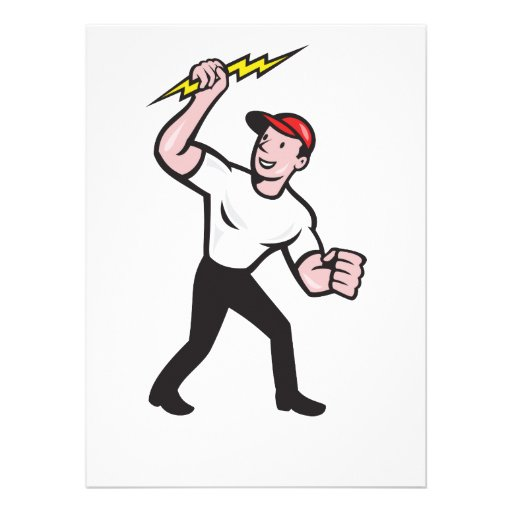 Electrician Construction Worker Cartoon Personalized Invitation