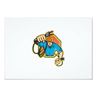 Electrician Construction Worker Retro 3.5x5 Paper Invitation Card