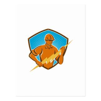 Electrician Construction Worker Retro Postcard