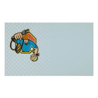 Electrician Construction Worker Retro Poster