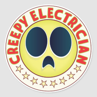 Electrician Creepy Classic Round Sticker