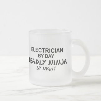 Electrician Deadly Ninja by Night Frosted Glass Coffee Mug