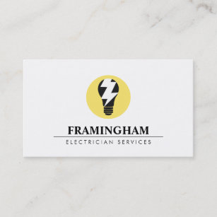 Electrical company business cards templates zazzle electrician electrical light bulb logo business card colourmoves