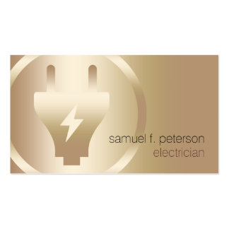 Electrician Elegant Bold Electric Plug Gold Icon Business Card