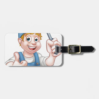 Electrician Handyman Cartoon Character Bag Tag