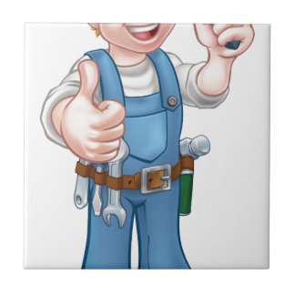 Electrician Handyman Cartoon Character Tile