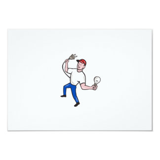 Electrician Hold Electric Plug and Bulb Cartoon 9 Cm X 13 Cm Invitation Card