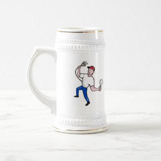 Electrician Hold Electric Plug and Bulb Cartoon Mug