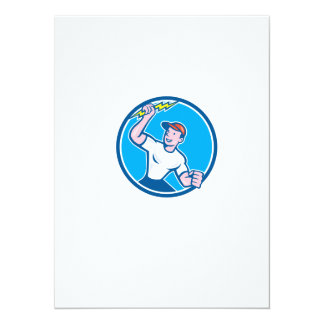 Electrician Holding Lightning Bolt Circle Cartoon Personalized Invites