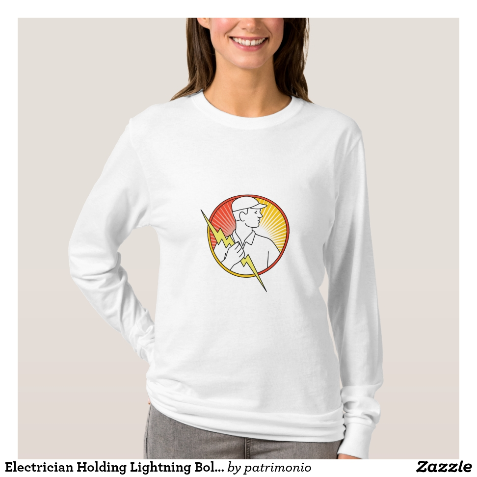 Electrician Holding Lightning Bolt Circle Monoline T-Shirt - Best Selling Long-Sleeve Street Fashion Shirt Designs