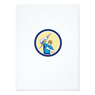 Electrician Holding Lightning Bolt Side Circle Personalized Invitations