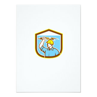 Electrician Holding Lightning Bolt Side Shield Personalised Announcements
