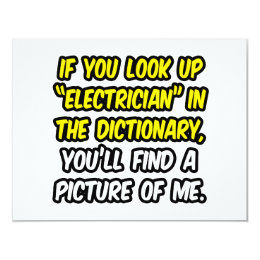 Electrician In Dictionary...My Picture Card
