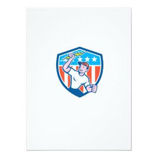 Electrician Lightning Bolt USA Flag Cartoon Invitations