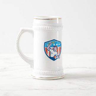 Electrician Lightning Bolt USA Flag Cartoon Coffee Mug