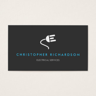 ELECTRICIAN LOGO MODERN BUSINESS CARD IN GRAY