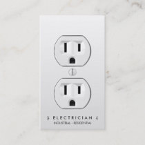 Electrician modern simple white electrical outlet appointment card