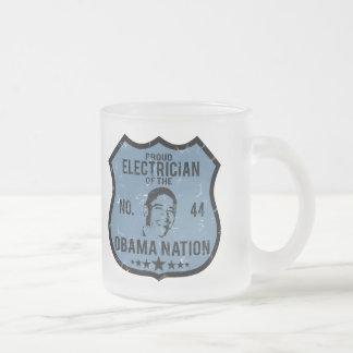 Electrician Obama Nation 10 Oz Frosted Glass Coffee Mug