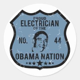 Electrician Obama Nation Classic Round Sticker