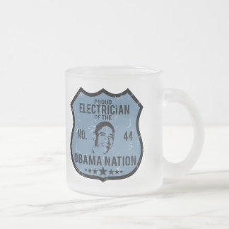 Electrician Obama Nation Frosted Glass Coffee Mug