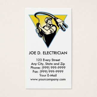 Electrician or power lineman holding lasso plug business card