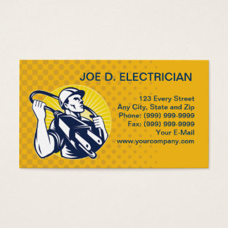 electrician power lineman worker electric business business card