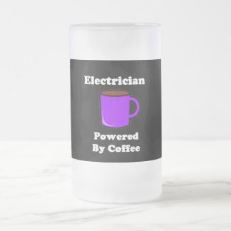"""Electrician"" Powered by Coffee Frosted Glass Beer Mug"
