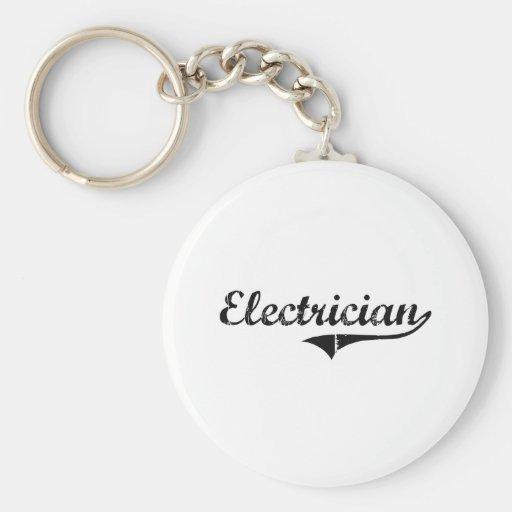 Electrician Professional Job Basic Round Button Keychain