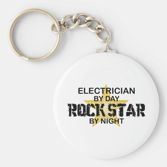 Electrician Rock Star by Night Keychain