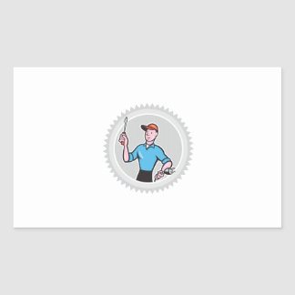 Electrician Screwdriver Plug Rosette Cartoon Rectangular Sticker