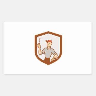 Electrician Screwdriver Plug Shield Cartoon Rectangle Stickers