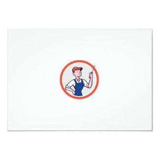 Electrician Standing Screwdriver Circle Cartoon 9 Cm X 13 Cm Invitation Card