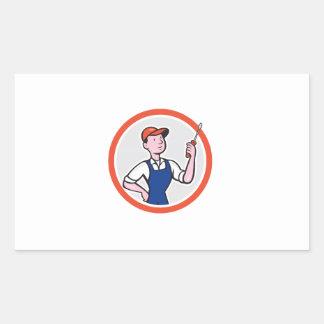 Electrician Standing Screwdriver Circle Cartoon Rectangle Stickers