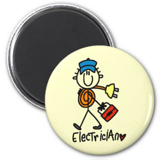 Electrician Stick Figure 2 Inch Round Magnet