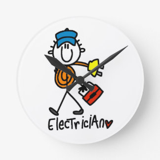 Electrician Stick Figure Round Clock