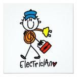 """Electrician Stick Figure 5.25"""" Square Invitation Card"""